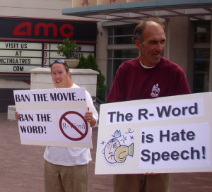 "The Arc protests the film, ""Tropic Thunder"""